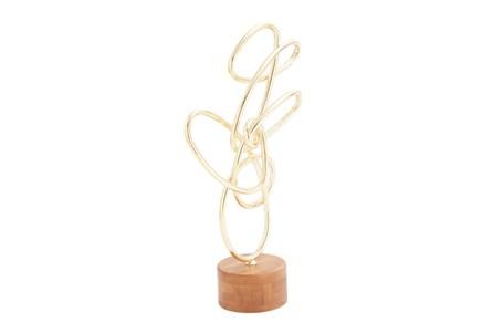 Metal Wood Gold Scribble Sculpture
