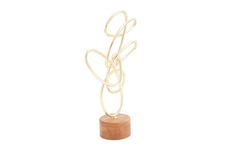 Metal Wood Gold Scribble Sculpture - Main