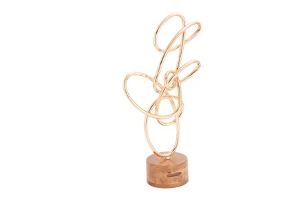 Metal Wood Copper Scribble Sculpture - Main