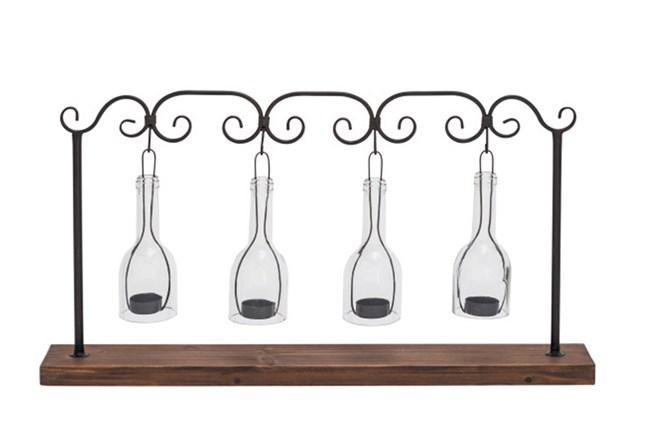 Metal Wood Glass Votive Holder - 360