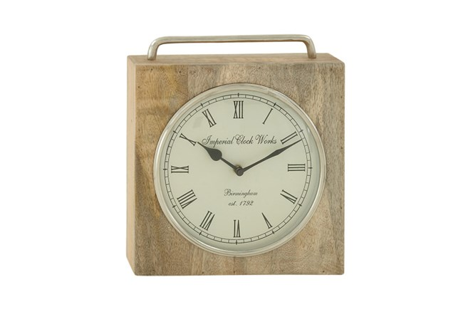 Wood Metal Table Clock - 360