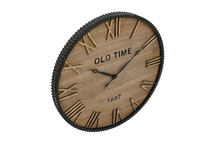 Wood Metal Wall Clock - Main