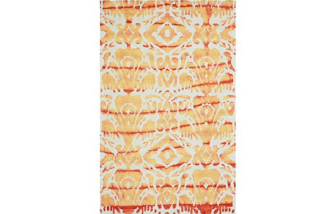 96X132 Rug-Orange Tie Dye Ikat - 360