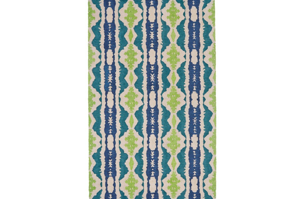 96X132 Rug-Blue And Lime Global Stripes