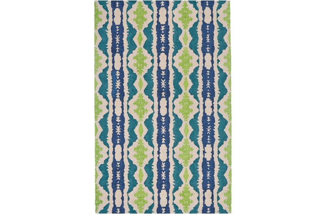 96X132 Rug-Blue And Lime Global Stripes - 360