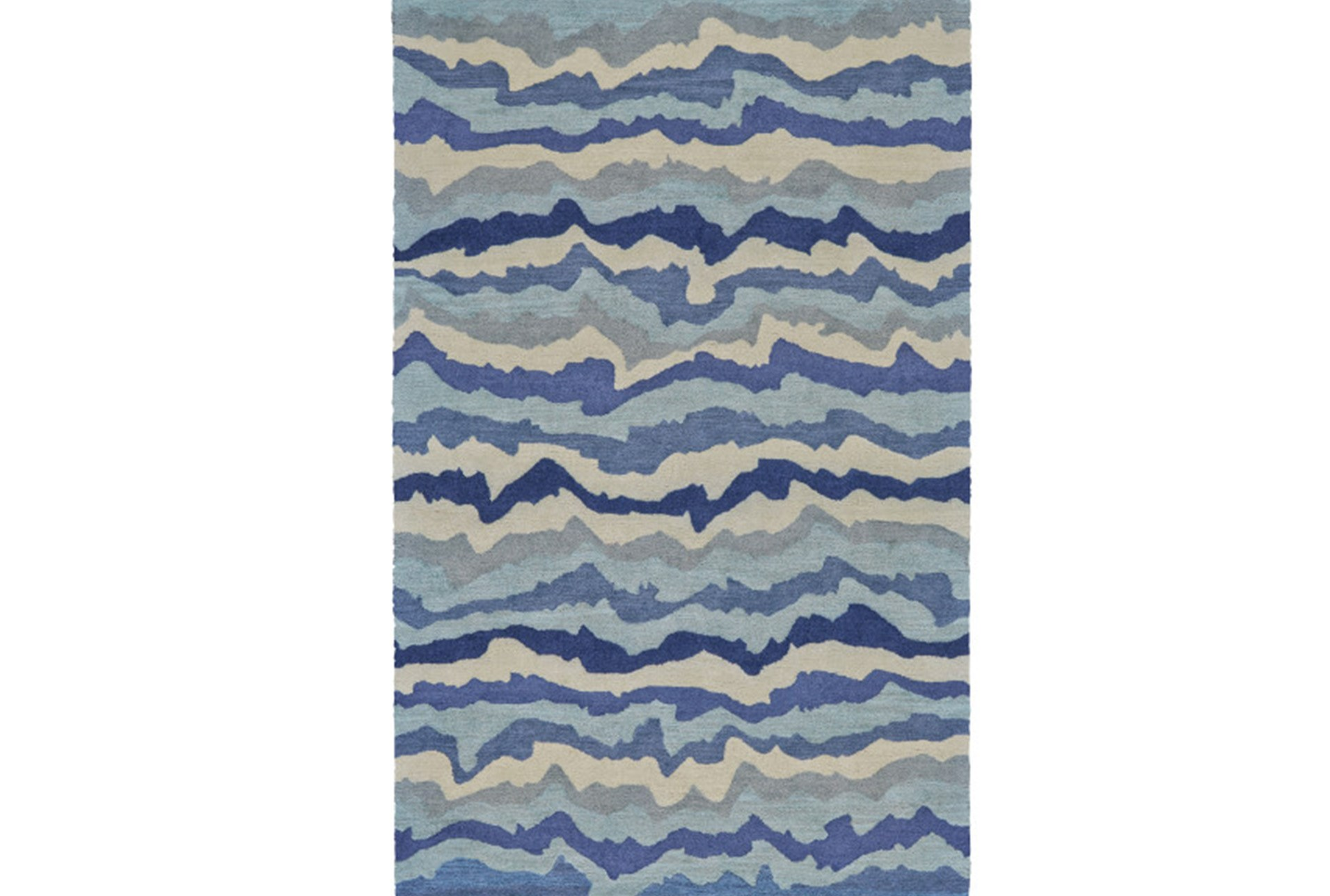 96x132 Rug Blue Tones Rippled Lines Living Spaces