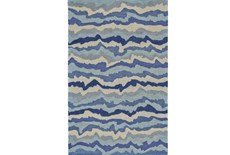 96X132 Rug-Blue Tones Rippled Lines