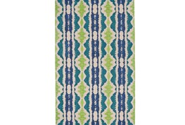 108X156 Rug-Blue And Lime Global Stripes