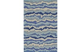 108X156 Rug-Blue Tones Rippled Lines