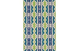 144X180 Rug-Blue And Lime Global Stripes