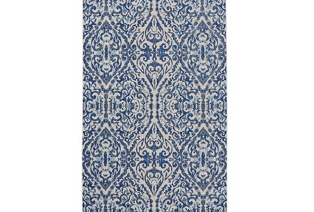 26X48 Rug-Royal Blue Distressed Damask