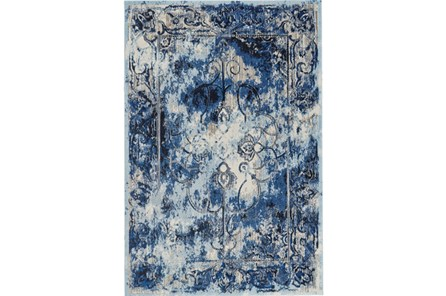 26X48 Rug-Royal Blue Distressed Medallion