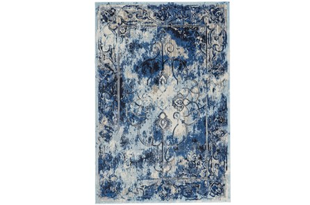63X90 Rug-Royal Blue Distressed Medallion