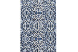94X132 Rug-Royal Blue Distressed Damask