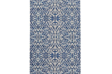 94X132 Rug-Royal Blue Distressed Damask - Main