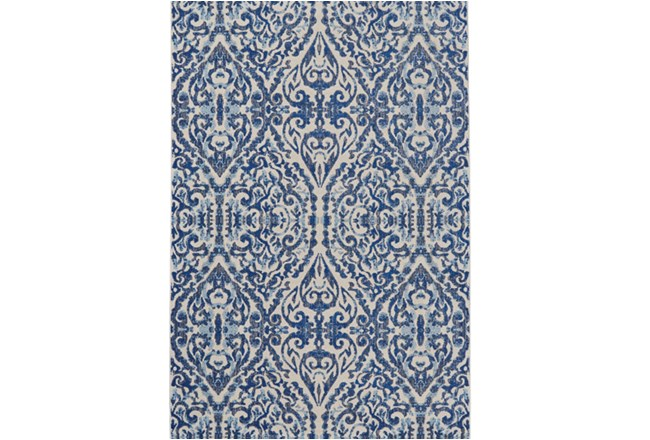 94X132 Rug-Royal Blue Distressed Damask - 360