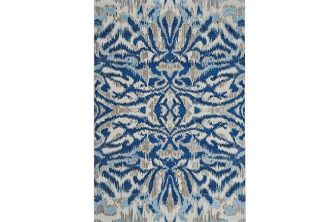 94X132 Rug-Royal Blue Kaleidoscope Damask - 360