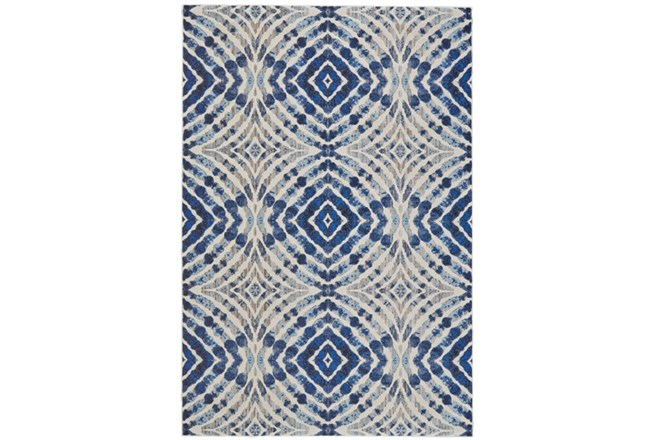 94X132 Rug-Royal Blue Kaleidoscope - 360