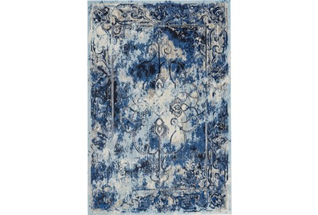 94X132 Rug-Royal Blue Distressed Medallion