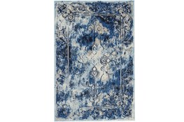122X165 Rug-Royal Blue Distressed Medallion