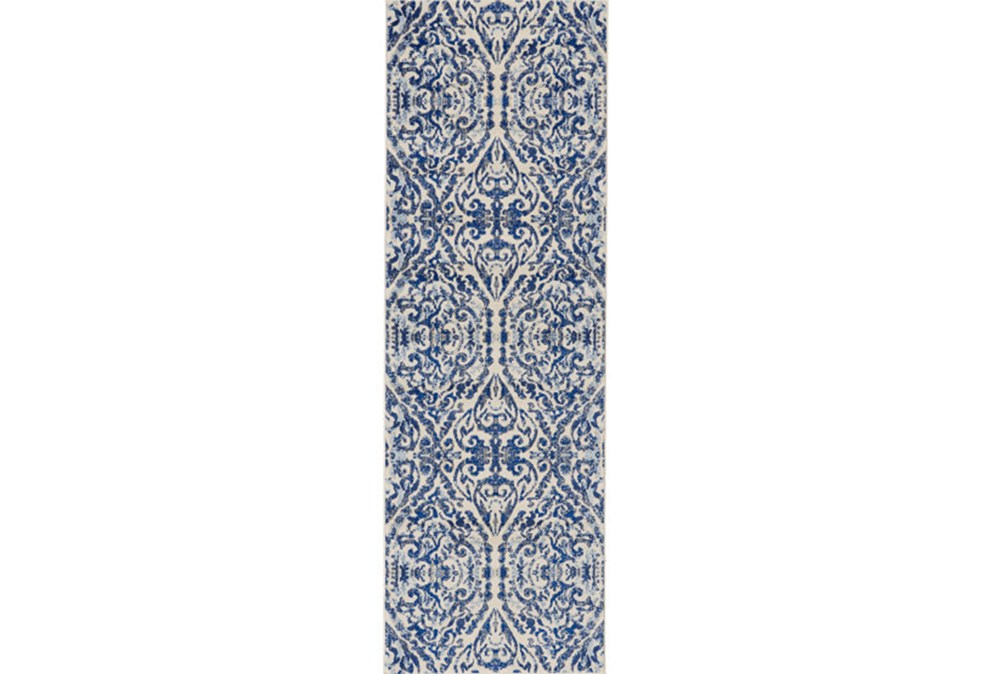 "2'6""x8' Rug-Royal Blue Distressed Damask"