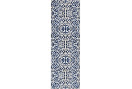 31X96 Rug-Royal Blue Distressed Damask