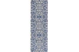 31X96 Rug-Royal Blue Distressed Damask