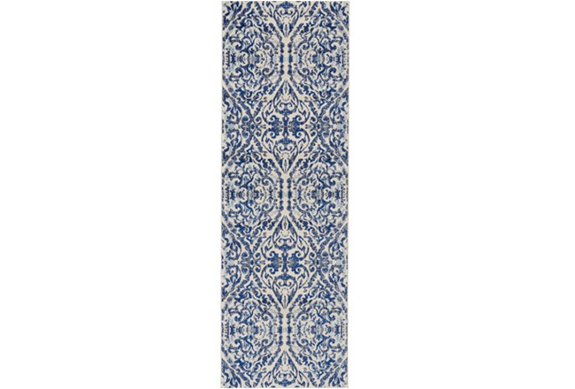 "2'6""x8' Rug-Royal Blue Distressed Damask - 360"