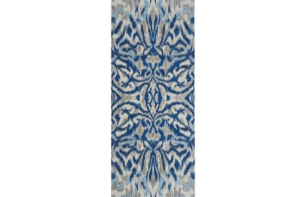 31X96 Rug-Royal Blue Kaleidoscope Damask