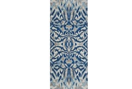 31X96 Rug-Royal Blue Kaleidoscope Damask
