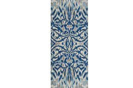 "2'6""x8' Rug-Royal Blue Kaleidoscope Damask"