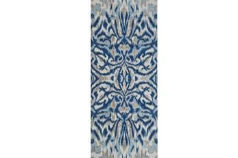"2'6""x8' Rug-Royal Blue Kaleidoscope Damask"