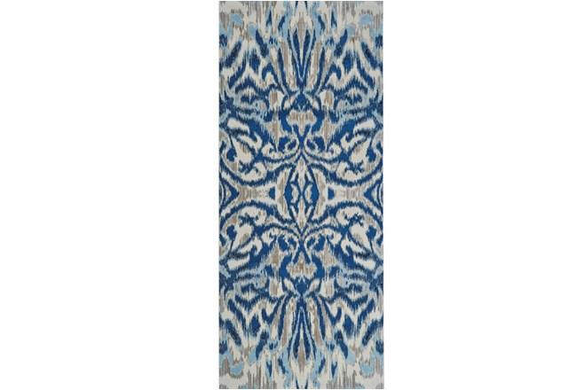 31X96 Rug-Royal Blue Kaleidoscope Damask - 360
