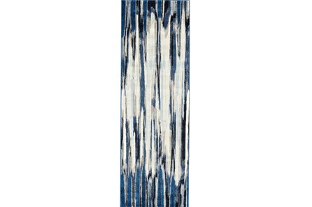 31X96 Rug-Royal Blue Watermark Strie
