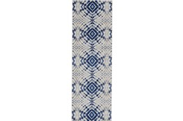 "2'6""x8' Rug-Royal Blue Kaleidoscope"
