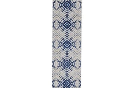 31X96 Rug-Royal Blue Kaleidoscope - Main