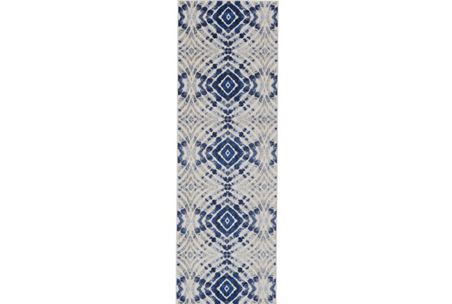 31X96 Rug-Royal Blue Kaleidoscope - 360