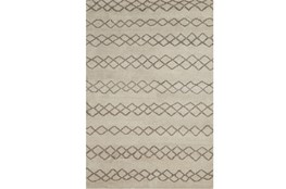 2'x3' Rug-Undyed Natural Wool Diamond Stripes