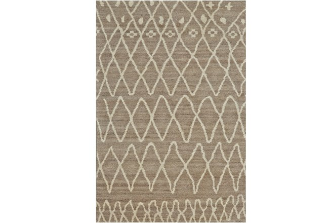 48X72 Rug-Undyed Natural Wool Organic Diamonds - 360