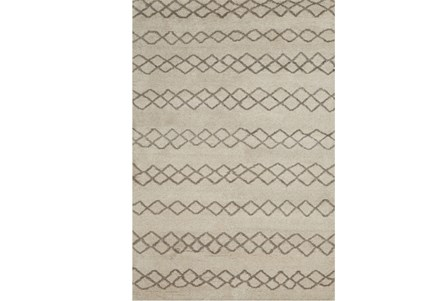 66X102 Rug-Undyed Natural Wool Diamond Stripes