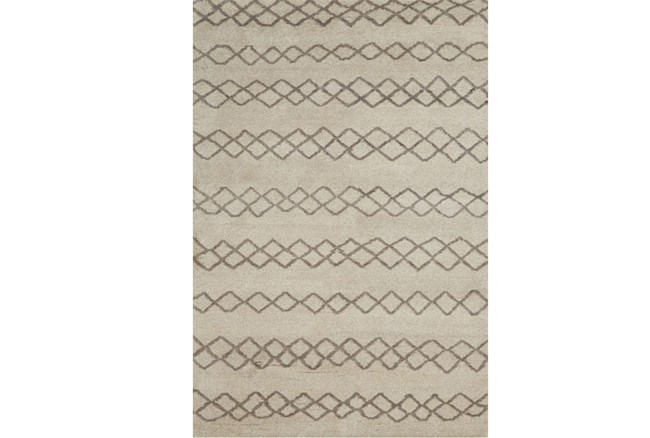 66X102 Rug-Undyed Natural Wool Diamond Stripes - 360