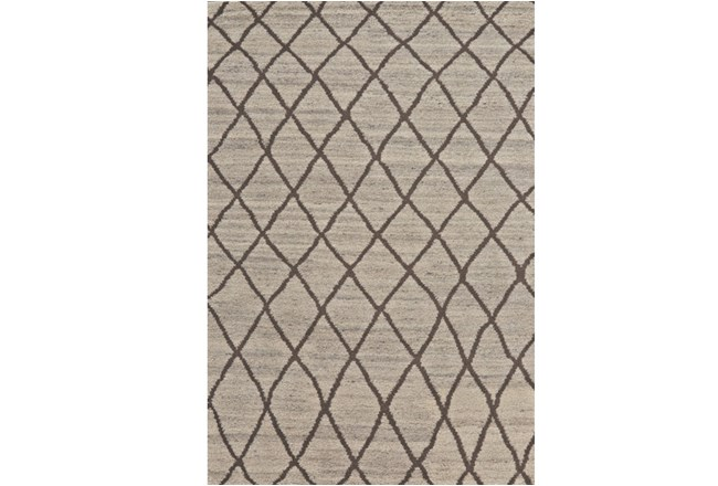 66X102 Rug-Undyed Natural Wool Cross Hatch - 360