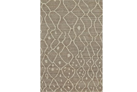 93X117 Rug-Undyed Natural Wool Moroccan Print