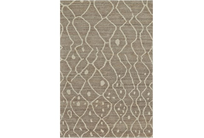 93X117 Rug-Undyed Natural Wool Moroccan Print - 360