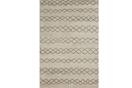 102X138 Rug-Undyed Natural Wool Diamond Stripes