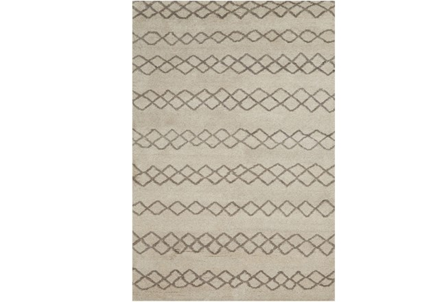 102X138 Rug-Undyed Natural Wool Diamond Stripes - 360