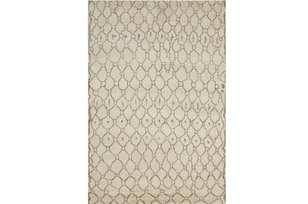114X162 Rug-Undyed Natural Wool Moroccan Print