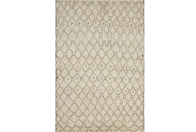 114X162 Rug-Undyed Natural Wool Moroccan Print - 360