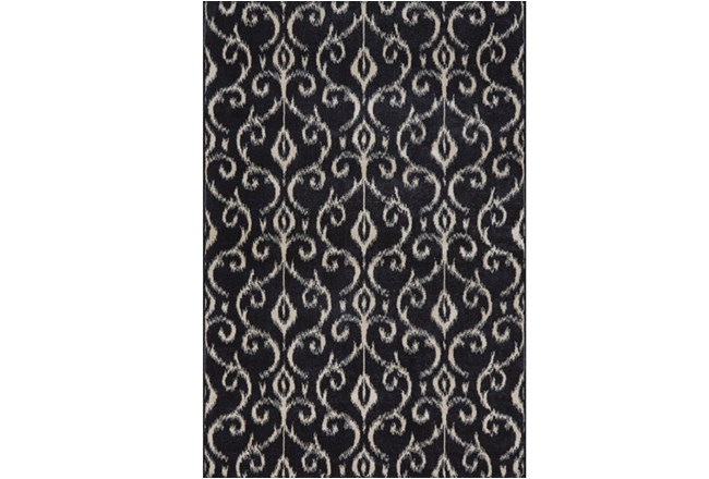 60X96 Rug-Black And Ivory Scroll - 360