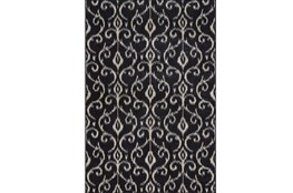 26X48 Rug-Black And Ivory Scroll